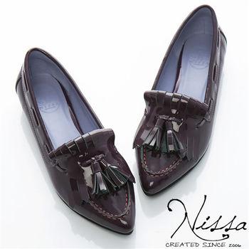 NISSA 真羊皮~羊漆啾啾流蘇平底鞋 紫