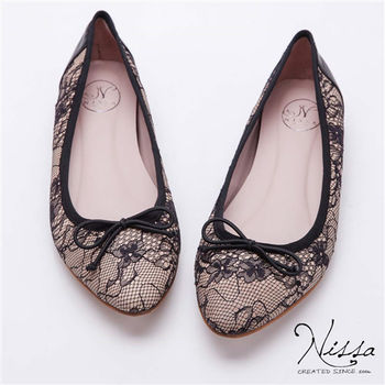 NISSA 微內增高-蕾絲尖楦蝴蝶結平底鞋 粉