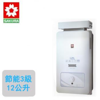 【櫻花SAKURA】GH-1206 屋外抗風型熱水器(12公升)(天然瓦斯)