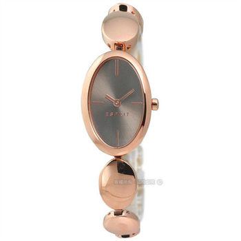 ESPRIT / ES108592003 / 高雅復古橢圓形不鏽鋼碗錶 深棕x鍍玫瑰金 22mm