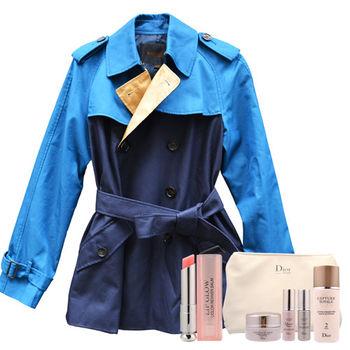 【COACH】時尚藍綠撞色防風大衣+DIOR粉樣潤唇膏+逆時完美再造修護組