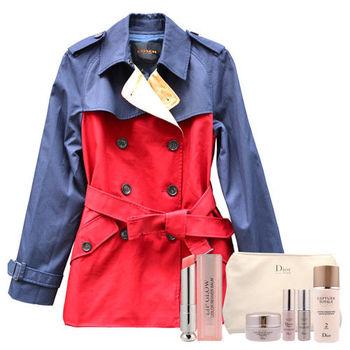 【COACH】時尚紅藍撞色防風大衣+DIOR粉樣潤唇膏+逆時完美再造修護組
