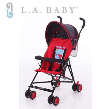 【美國 L.A. Baby】亮彩輕便嬰兒手推車(紅色)