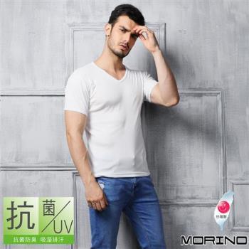【MORINO】抗菌防臭速乾短袖V領衫 白色