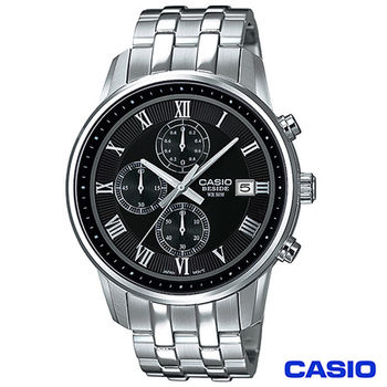 CASIO卡西歐 BESIDE型男商務時尚三眼計時腕錶 BEM-511D-1A