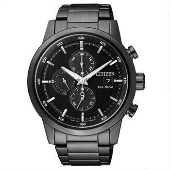 【CITIZEN星辰】Eco-Drive光動能 時尚簡約三眼計時腕錶-黑/43mm (CA0615-59E)