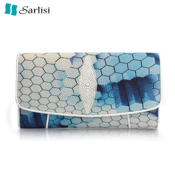 【Sarlisi】簡約精緻珍珠魚皮三折長夾(3款可選)