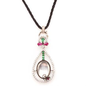 【寶石方塊】潔白無瑕天然緬甸水沫玉項鍊-925純銀飾