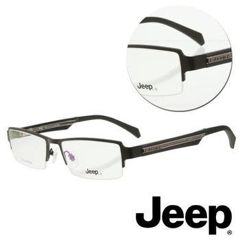 【JEEP】半框方形木紋黑色光學眼鏡(J-TF5011-C1)