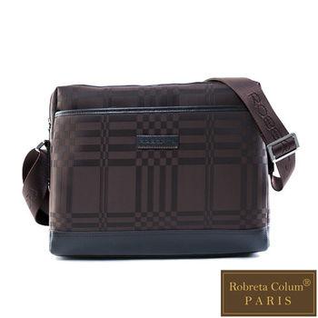 Roberta Colum - 紳士品味棋盤格真皮皮革橫式斜側背包