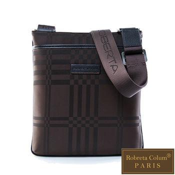 Roberta Colum - 紳士品味棋盤格真皮皮革薄型直式休閒側背包