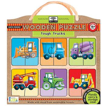 美國innovativeKids寶寶木拼圖-工程卡車(12片組)