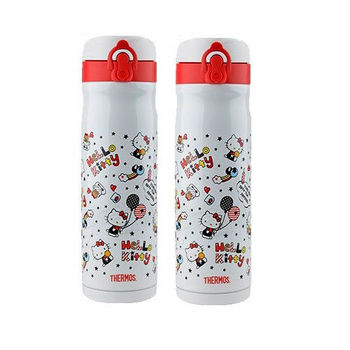 THERMOS膳魔師 不鏽鋼真空保溫瓶0.5L KITTY限定版 2入組(JMY-501KT-WH)