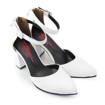 【Pretty】迷人氣質後拉鍊繫踝高跟尖頭鞋-白色