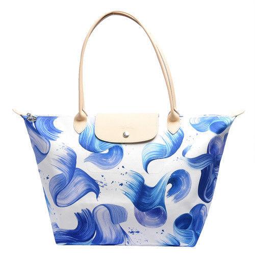 LONGCHAMP SPLASH系列水花圖紋長把棉質帆布水餃包(大-藍莓色)