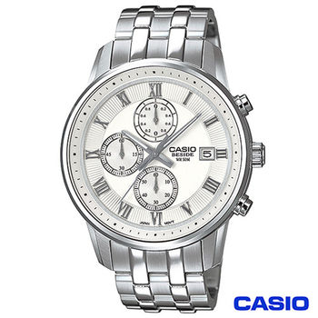 CASIO卡西歐 BESIDE型男商務時尚三眼計時腕錶 BEM-511D-7A