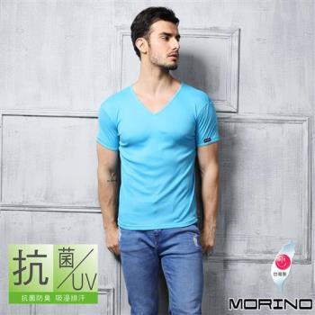 【MORINO】抗菌防臭速乾短袖V領衫 水藍色