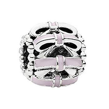 【Pandora】甜美粉色蝴蝶結琺瑯純銀墜飾串珠