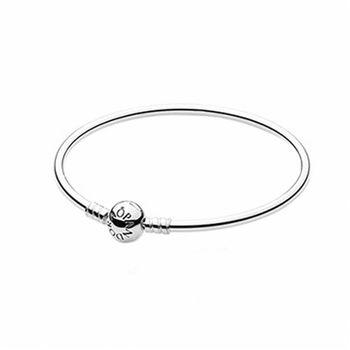 【Pandora】硬環圓珠釦純銀手鍊手環-17cm