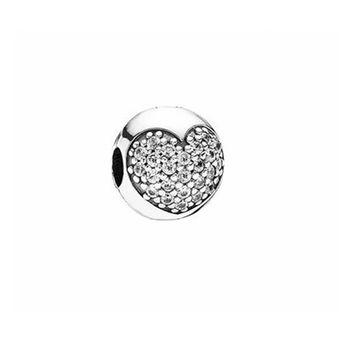 【Pandora】閃耀愛心水鑽鋯石純銀墜飾扣珠