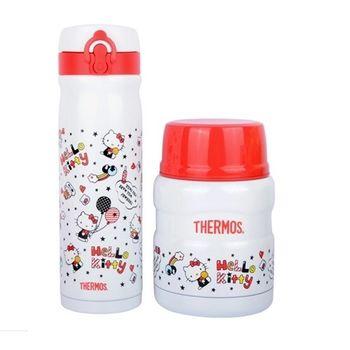 THERMOS膳魔師 不鏽鋼真空食物罐0.47L+保溫瓶0.5L 2入組(SK-3000KT+JMY-501KT-WH)