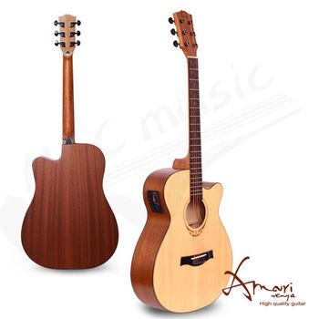 Amari 40吋 EQ附調音器 雲杉木 民謠吉他-原木(408CE)加贈超值五寶