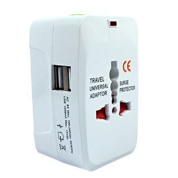萬國電源轉接頭 (帶2 PORT USB) 電源轉接頭 輕巧 萬國轉接頭 白色
