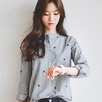 Bubble❤CoCo 小清新立領樹葉刺繡棉麻襯衫 UB354現+預