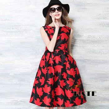 現貨+預購【KATE】時尚圖騰蓬裙背心洋裝K211(繽紛紅)