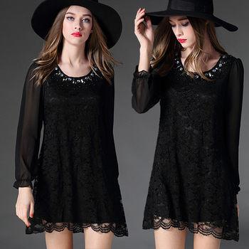 【麗質達人中大碼】黑色蕾絲長袖洋裝(XL-5XL)
