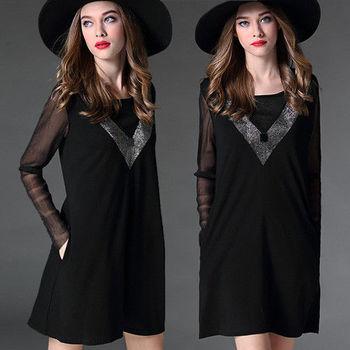 【麗質達人中大碼】燙鑽黑色長袖洋裝(XL-5XL)