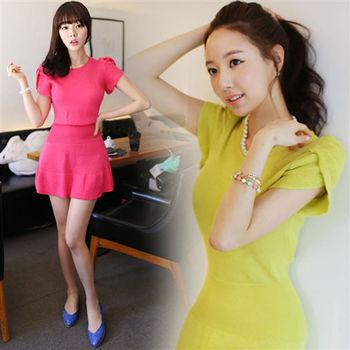 Pink東大門-正韓 肩膀皺褶縮腰連身洋裝(共兩色)-ZX538160