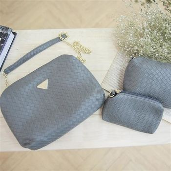 【ZARATA】素色編織包中包斜側背金鍊小方包(灰色)