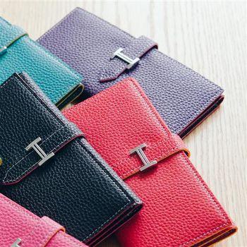 【ZARATA】韓國復古皮革H釦多層次長版皮夾(紫色)
