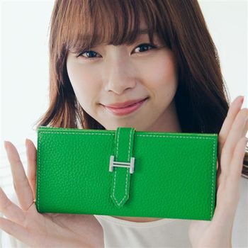 【ZARATA】韓國復古皮革H釦多層次長版皮夾(綠色)