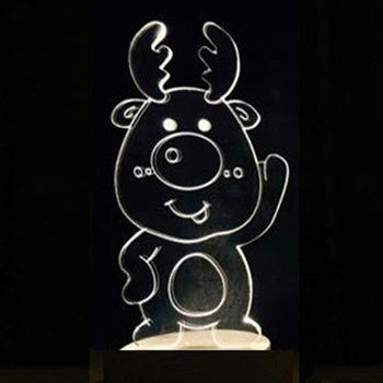 北歐3D立體 USB LED創意小夜燈-Q版麋鹿