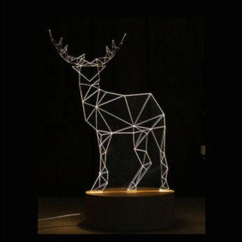 北歐3D立體 USB LED創意小夜燈-麋鹿