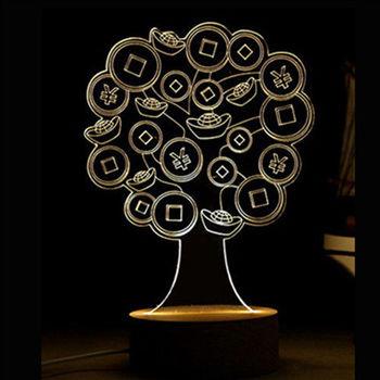 北歐3D立體 USB LED創意小夜燈-發財樹