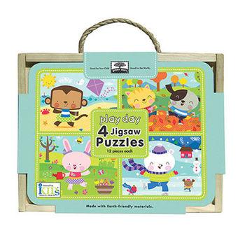 美國innovativeKids寶寶四格木盒拼圖-歡樂時光