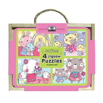 美國innovativeKids寶寶四格木盒拼圖-可愛寶貝