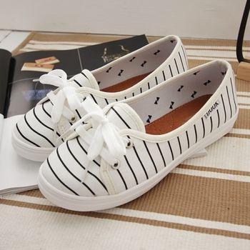 《DOOK》海洋風淺口娃娃鞋/好穿脫懶人鞋-白色