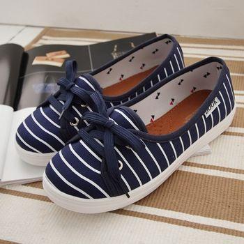 《DOOK》海洋風淺口娃娃鞋/好穿脫懶人鞋-深藍色