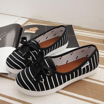 《DOOK》海洋風淺口娃娃鞋/好穿脫懶人鞋-黑色