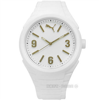 PUMA / PU103592013 / 跳躍每一刻運動矽膠腕錶 金x白 45mm
