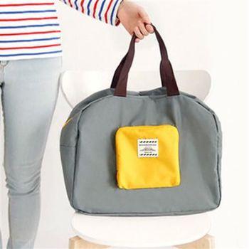 【ZARATA】可摺疊防水旅行收納購物袋肩背包(灰色)