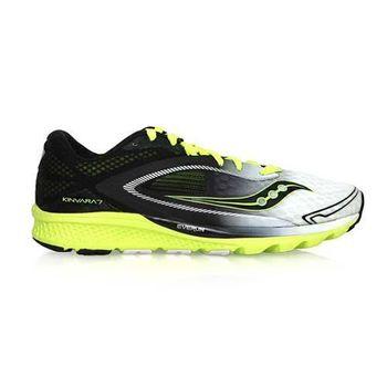 【SAUCONY】KINVARA 7 男自然系列慢跑鞋- 路跑 黑白黃