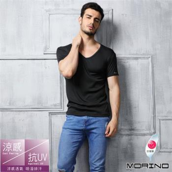 【MORINO】速乾涼感短袖V領衫 黑色