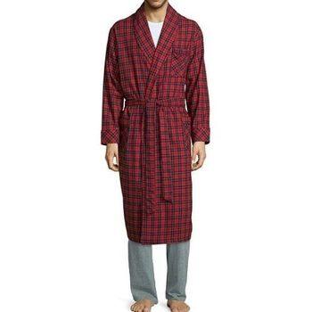 Stafford 2016男時尚紅色蘇格蘭和服款絨布睡袍(預購)