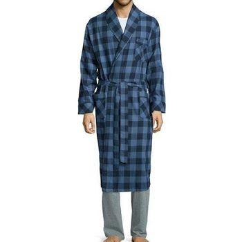 Stafford 2016男時尚雙藍色格紋和服款絨布睡袍(預購)