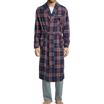 Stafford 2016男時尚紅寶藍色格紋和服款絨布睡袍(預購)